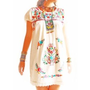 Mexican Dress Embroidered Boho Tunic Hippie Flower